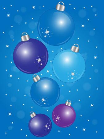 Shiny blue Christmas balls on blue background Illustration