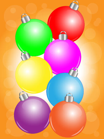Colorful Christmas balls on golden background Illustration