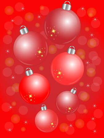 Shiny red Christmas balls on red background Illustration