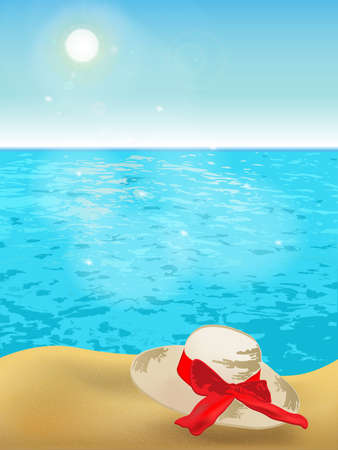 Sunny beach with womens summer hat on sand, clear sky and sparkling blue sea. Иллюстрация