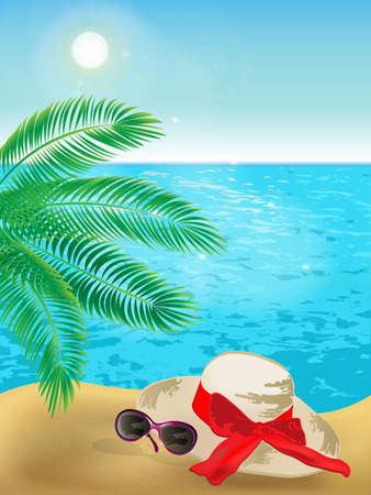 Summer background of sunny beach with palm tree, sunglasses, hat and blue sea. Vektorové ilustrace