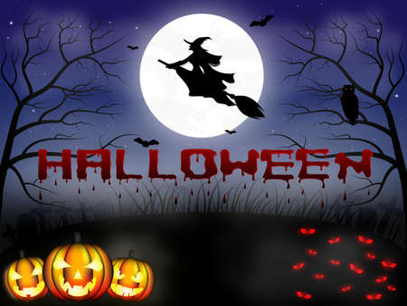 Halloween background with spooky text, full moon, dark scary night with flying witch silhouette, bats, pumpkins, forest, graveyard and other red eyed creatures. 向量圖像