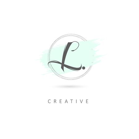 Simple Elegant Initial Letter L Logo Sign Symbol Icon with Brush Stroke Element. Design Vector Illustration Template.