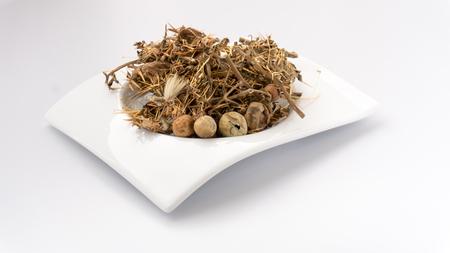 Solanum Virginianum, Yellow-Fruit Nightshade, Surattense Nightshade, Katuwel batu or Karabatu ( Dried Herbs on White Background ) Stock Photo
