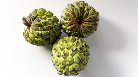 Sweetsop (Custard Apple, Annona Reticulata, Sitaphal , Sitappalam) Isolated on White Background