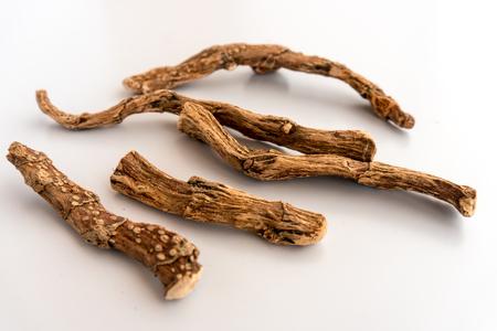 Ayurvedic  Medicine: Sweet root  Isolated  on White Background Stock Photo