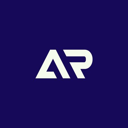 minimal AR logo, clean and modern style isolated on blue background