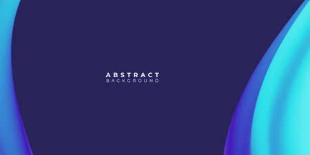Liquid abstract background. Blue fluid vector banner template for social media, web sites. Wavy shapes 일러스트