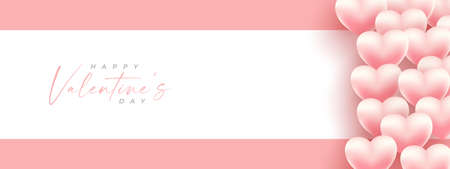 Happy Valentine's Day!, Valentine background. Valentines day vector banner template. Valentines day design with white space for text and hearts elements in pink and white background. Vector illustration