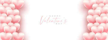 Valentines day banner in pink background with wishing happy holiday, modern style.Template for flyer, invitation and greeting card for holiday. Vector illustration. Иллюстрация