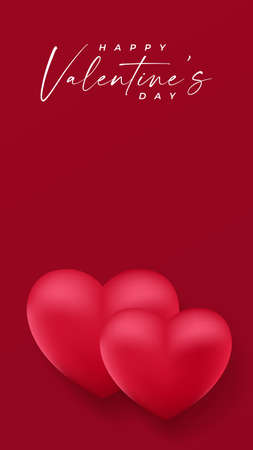 Valentine's Day background design with text space using red and white color of heart shape .
