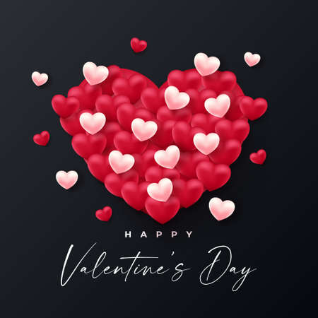 Valentines Day Background design with realistic style. vector illustration Иллюстрация