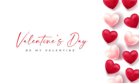 Valentines day 3d hearts. Cute love banner, romantic greeting card happy valentines day wishes text, red heart balloons vector concept Иллюстрация