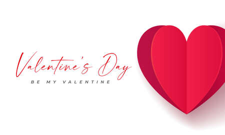 Happy Valentine's Day banner. Holiday background design with big heart made of red and pink Origami Hearts. Horizontal poster, flyer, greeting card, header for website