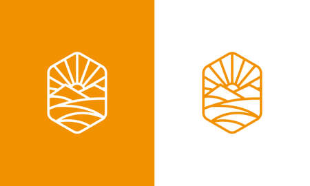 Modern Vector of mountain and Sun Line Art Vintage Logo Template suitable for personal or business company brand