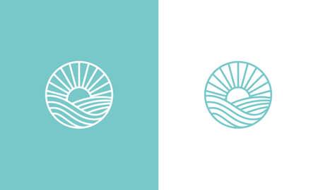 sunset logo design, sunset circular vector design in ocean scenic