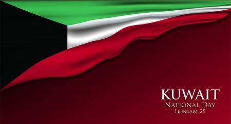 Drapeau du Koweït 3D illustration vectorielle. Vecteurs