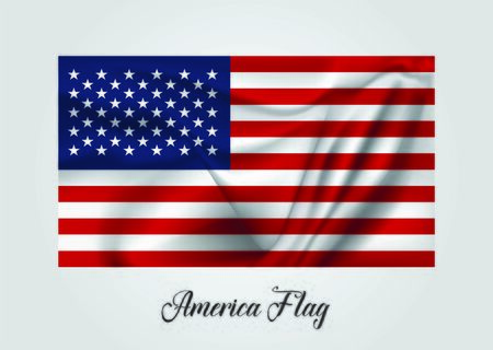 Background with 3d waving flag of America