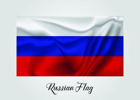 Russian 3D Flag Vector illustration Stock Illustratie