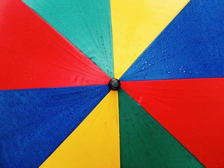 rainbow umbrella: Water drops on Rainbow umbrella