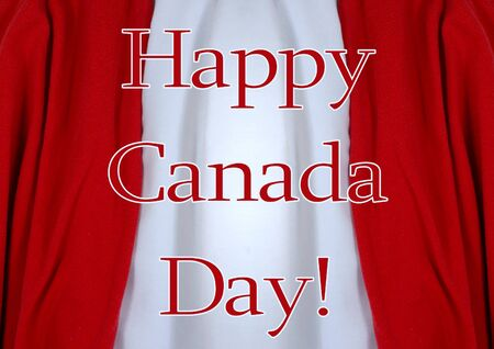 patriotism: Red and White draped fabric form a striped background for Canada Day image