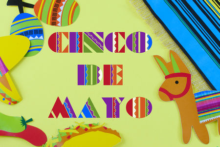 Cinco de Mayo image withmessage added on yellow background surrounded by colorful party props with Mexican themed subjects