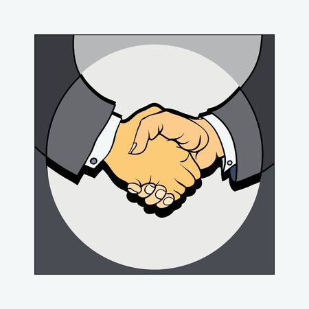two persons fixed the reached agreement strong handshake Vector