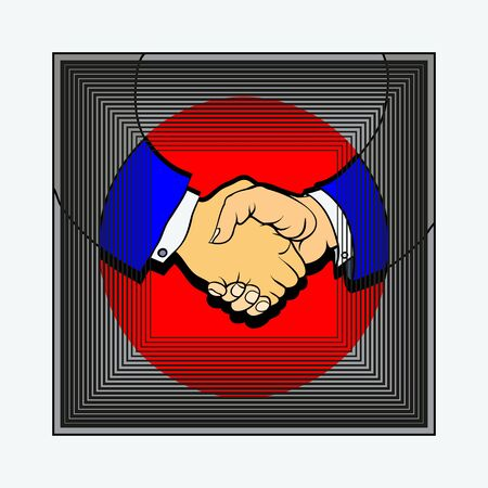 reached: two persons fixed the reached agreement strong handshake