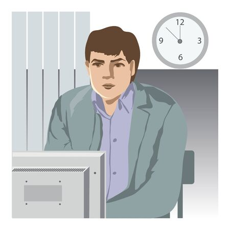 the young man at office, sits and thinks near the computer, on a wall hours Vector
