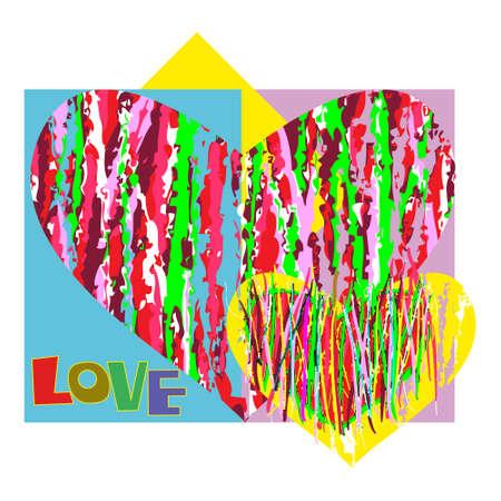 abstracte vormen: Twee abstracte vormen in de vorm van hart en een inscriptie Liefde Stock Illustratie