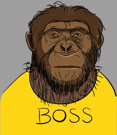 Portrait of a monkey dressed in a yellow T-shirt with the boss