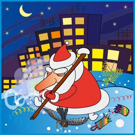 santa suit: Elderly man sleeping in the Santa suit, sitting in the snow on a background of night city  Illustration
