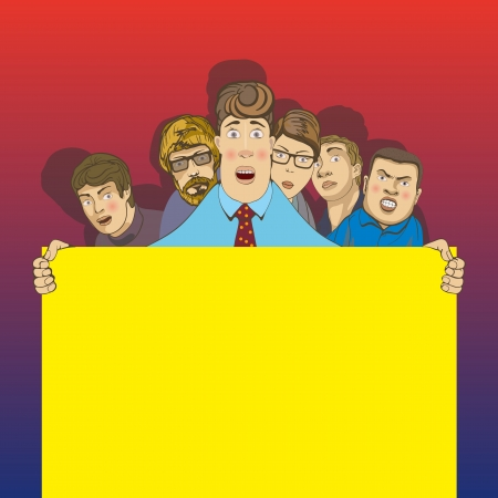 office peoplesix young men standing with a placard Vector