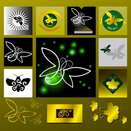 Light in the darkness, symbolic image of a flying insect. Vector