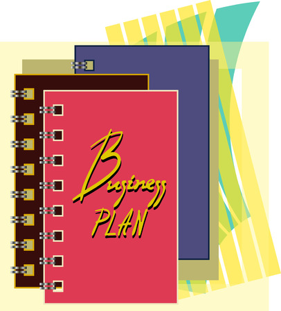 colorful notebooks with inscription business plan photo