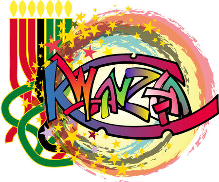 background with the traditional celebration of Kwanzaa rotating star holiday photo