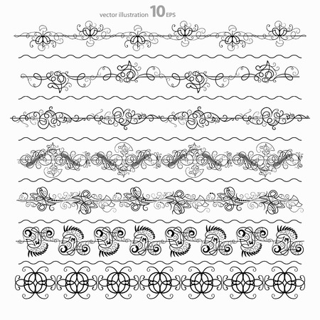 set of black decorative horizontal floral elements, corners, borders, frame .Page decoration photo
