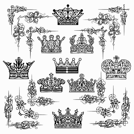 set of black decorative crown, king, Area, elements, corners, borders, frame .Page decoration photo
