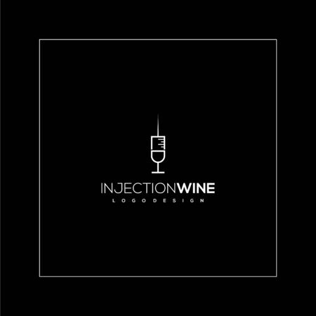 Creative logo design of injection and wine with black background Foto de archivo - 139031894