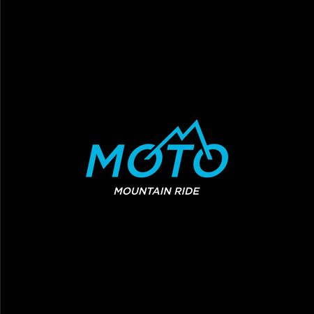 Creative and unique logo design of motocross and bike mountain with dark background Logo