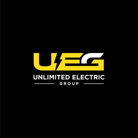 Bold logo design of lighting bolt and electric industry with clean background