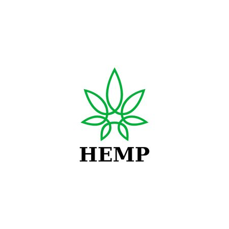 Clean logo design of hemp leaf and oil with clean background - - Vector.