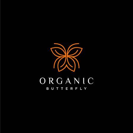 Unique and modern logo design  butterfly  dark background -  - Vector.
