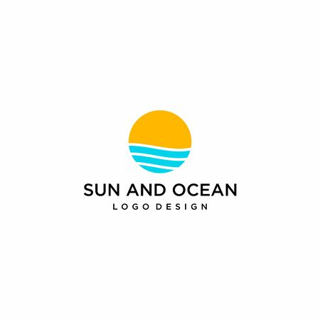 Simple, clean and modern logo design of ocean with clear background