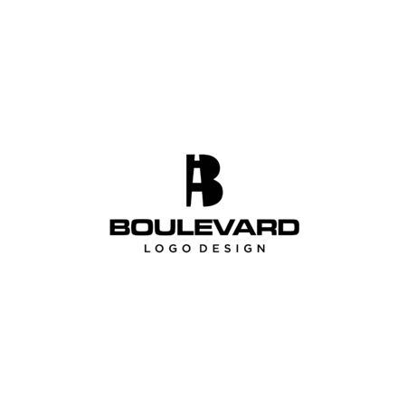 Bold and strong logo design of letter B and boulevard with clean background - EPS10 - Vector.
