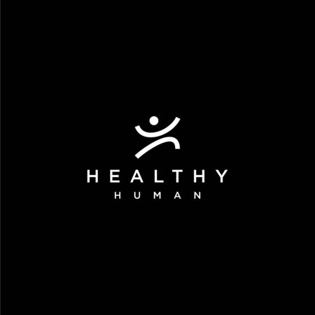 Abstract human active logo design with black background 向量圖像