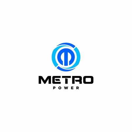 Bold and strong logo design of letter M and Circle with dark background color Vettoriali