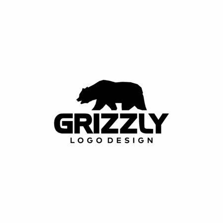 Logo design of bear grizzly on white background colours - EPS10 - Vector.
