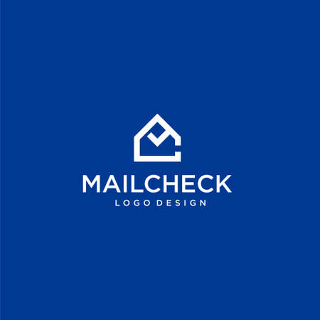 Unique logo design of letter CM, mail and tick on white background colours