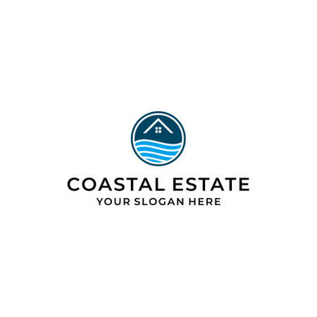 A modern, clean and unique logo of a home or estate on a cool beach. Real estate and traveling. Logo